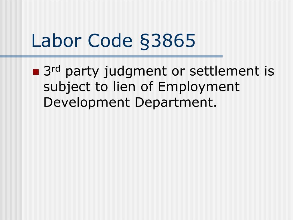 Labor Code §3865