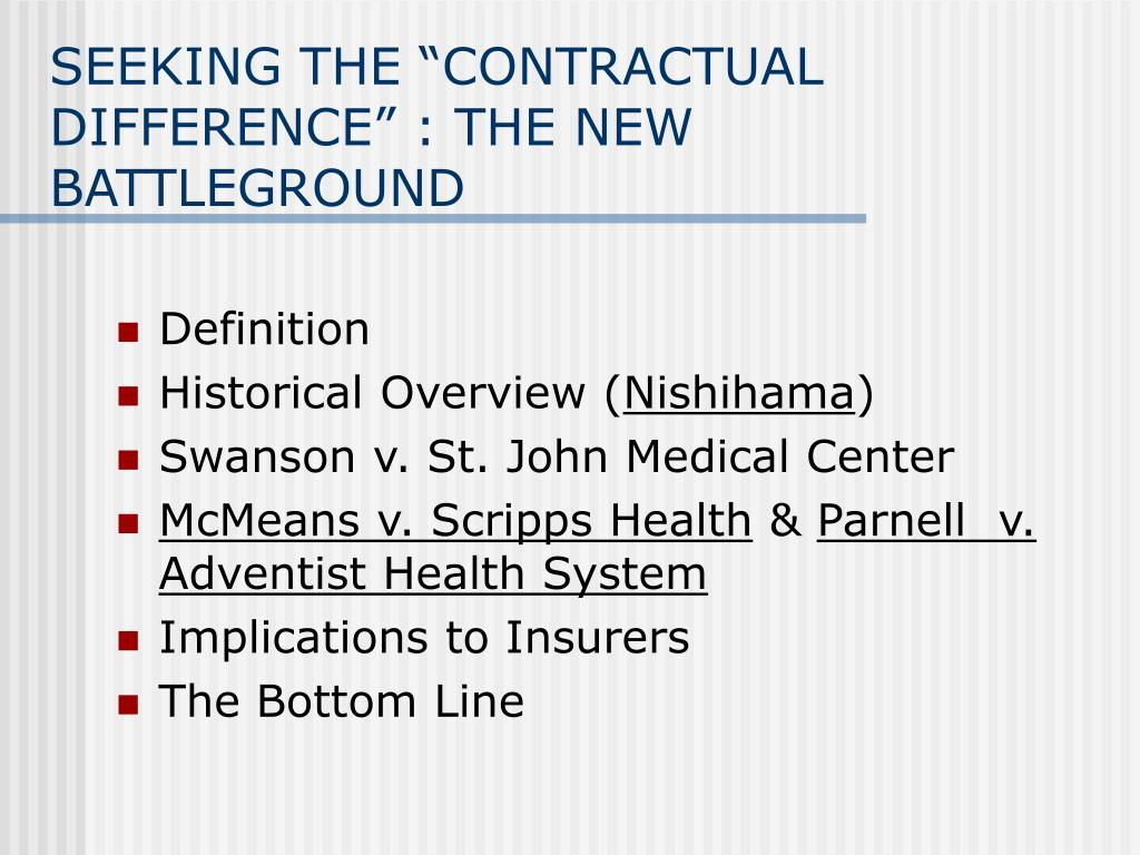 """SEEKING THE """"CONTRACTUAL DIFFERENCE"""" : THE NEW BATTLEGROUND"""