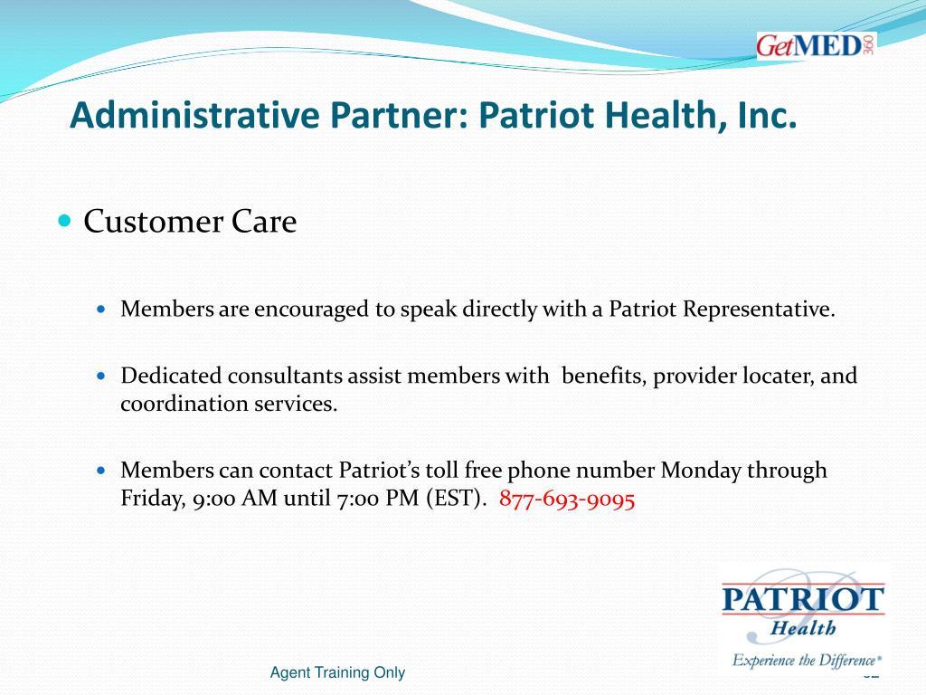 Administrative Partner: Patriot Health, Inc.