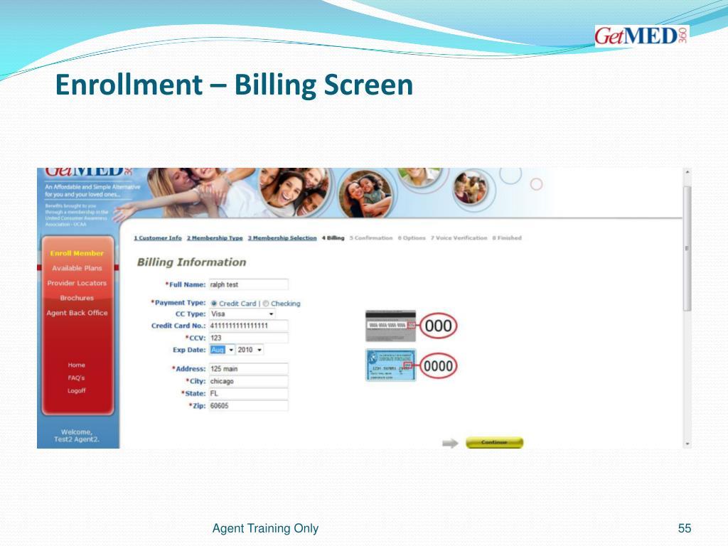 Enrollment – Billing Screen