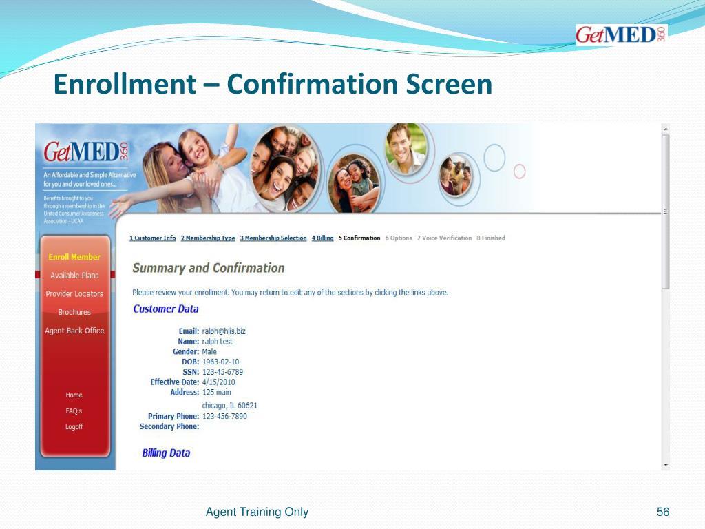 Enrollment – Confirmation Screen