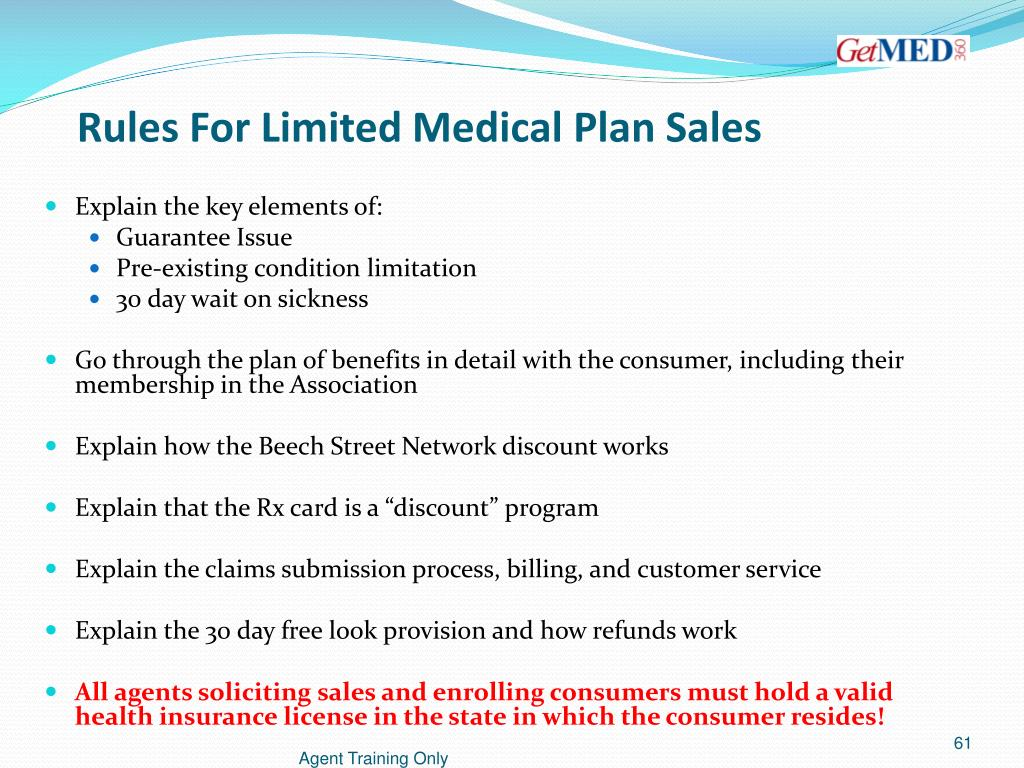 Rules For Limited Medical Plan Sales
