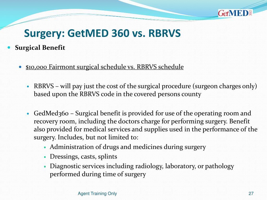 Surgery: GetMED 360 vs. RBRVS