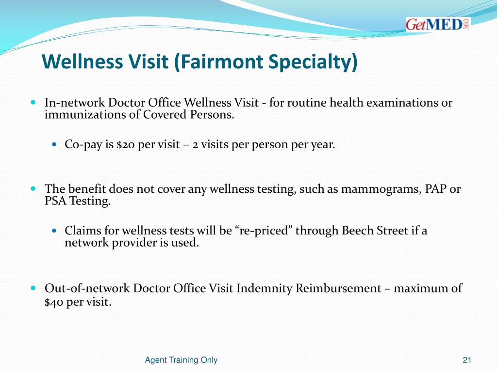 Wellness Visit (Fairmont Specialty)