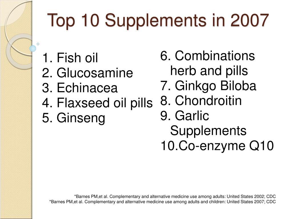 Top 10 Supplements in 2007