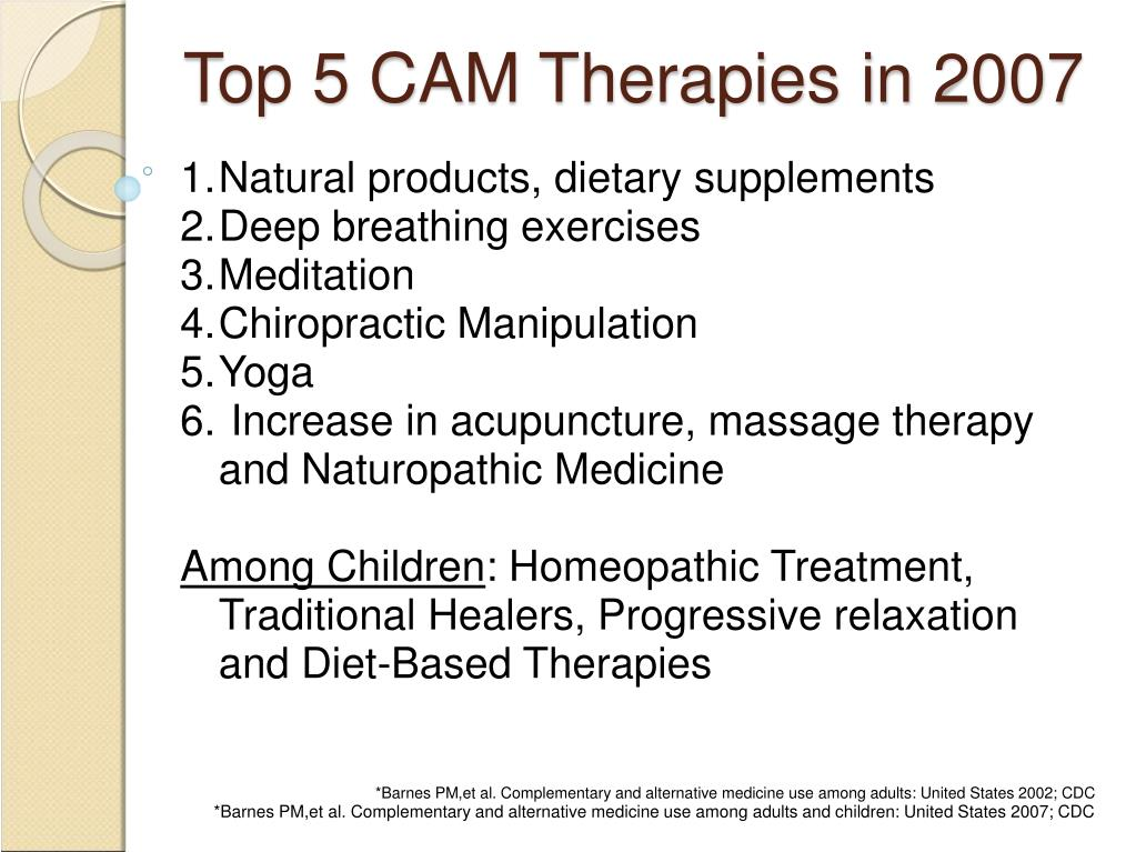 Top 5 CAM Therapies in 2007