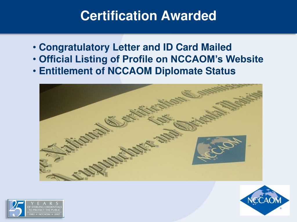 Certification Awarded