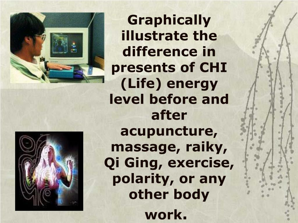 Graphically illustrate the difference in presents of CHI (Life) energy level before and after acupuncture, massage, raiky, Qi Ging, exercise, polarity, or any other body work