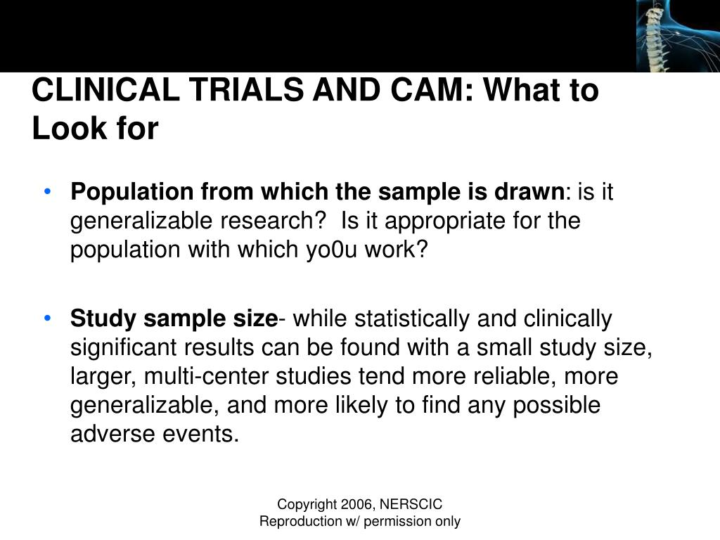 CLINICAL TRIALS AND CAM: What to Look for