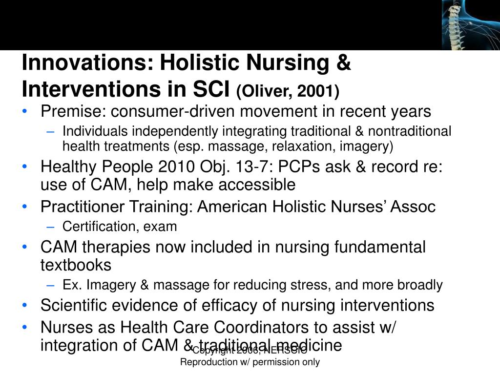 Innovations: Holistic Nursing & Interventions in SCI