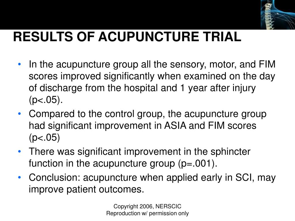 RESULTS OF ACUPUNCTURE TRIAL