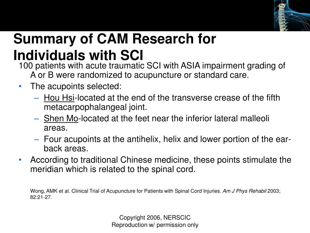 Summary of CAM Research for Individuals with SCI