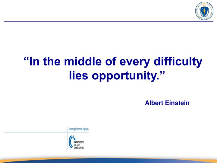 """In the middle of every difficulty lies opportunity."""