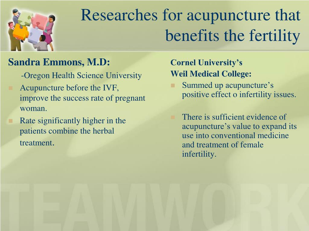 Researches for acupuncture that   benefits the fertility