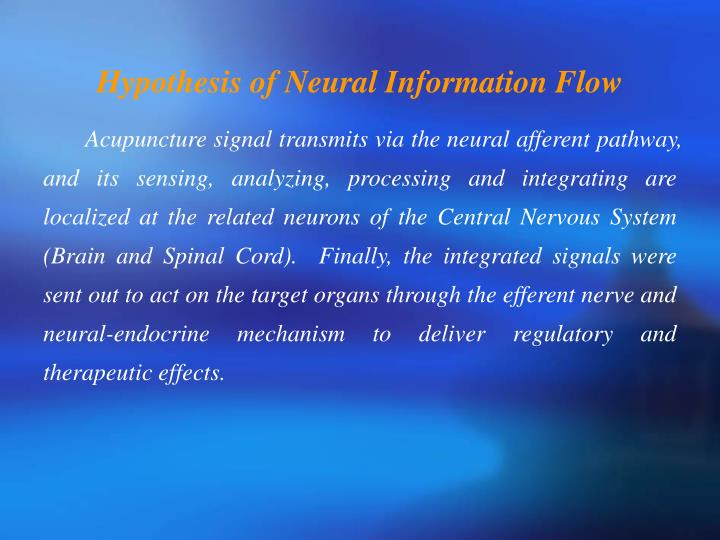 Hypothesis of Neural Information Flow