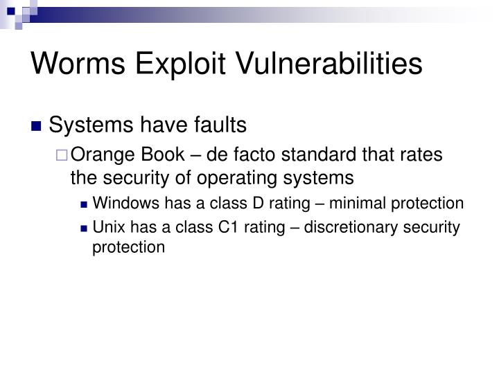 Worms Exploit Vulnerabilities