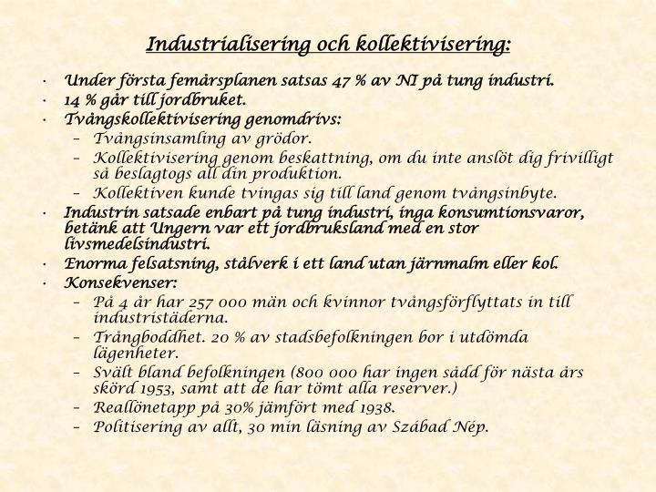 Industrialisering och kollektivisering: