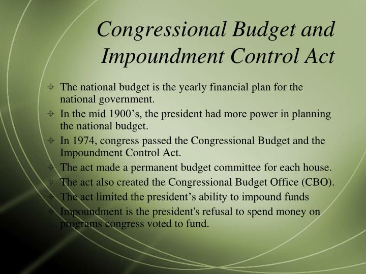 Congressional Budget and Impoundment Control Act