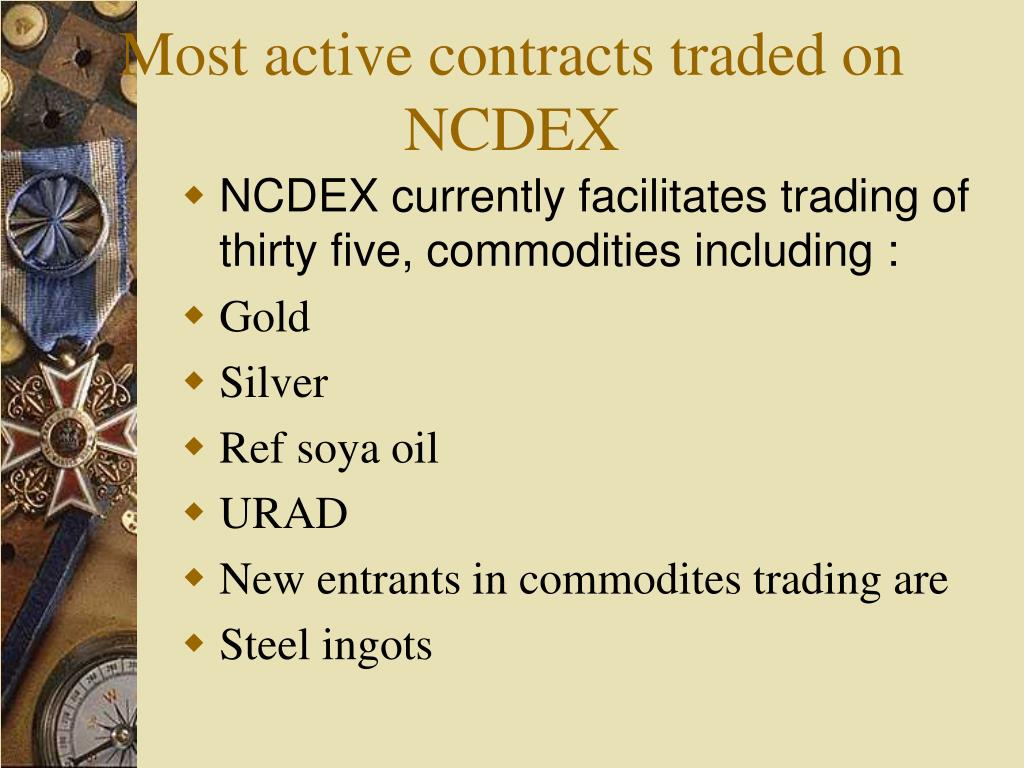 Most active contracts traded on NCDEX