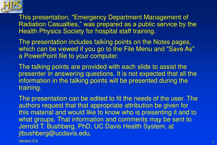"This presentation, ""Emergency Department Management of Radiation Casualties,"" was prepared as a pu..."