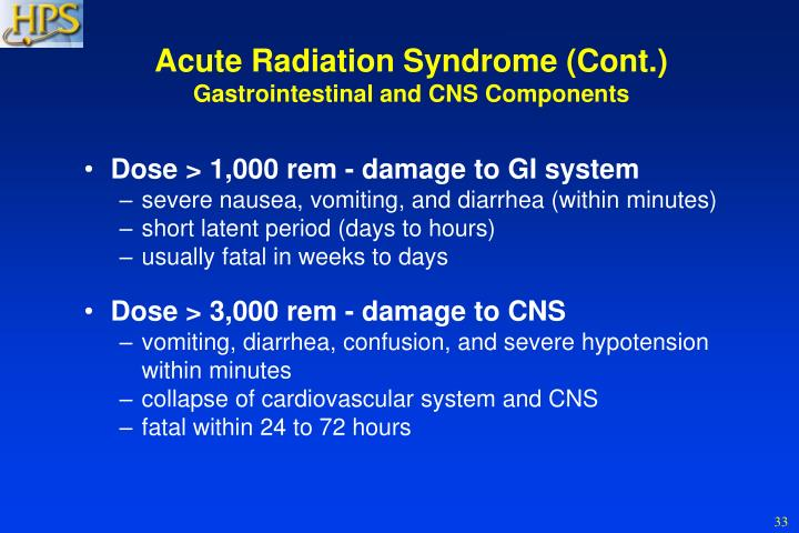 Acute Radiation Syndrome (Cont.)