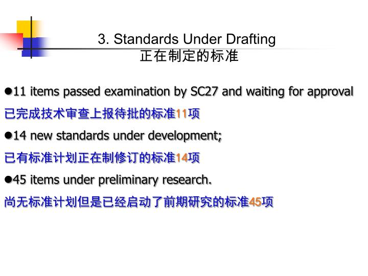 3. Standards Under Drafting