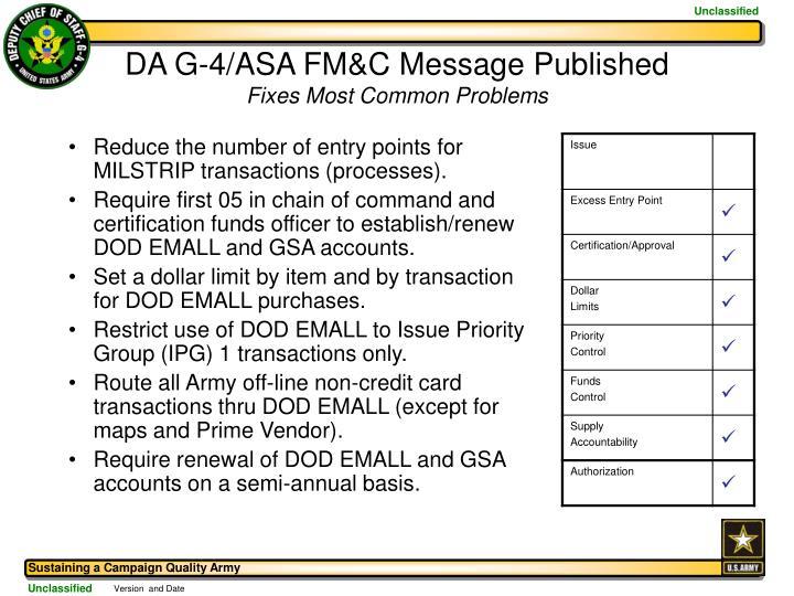 DA G-4/ASA FM&C Message Published