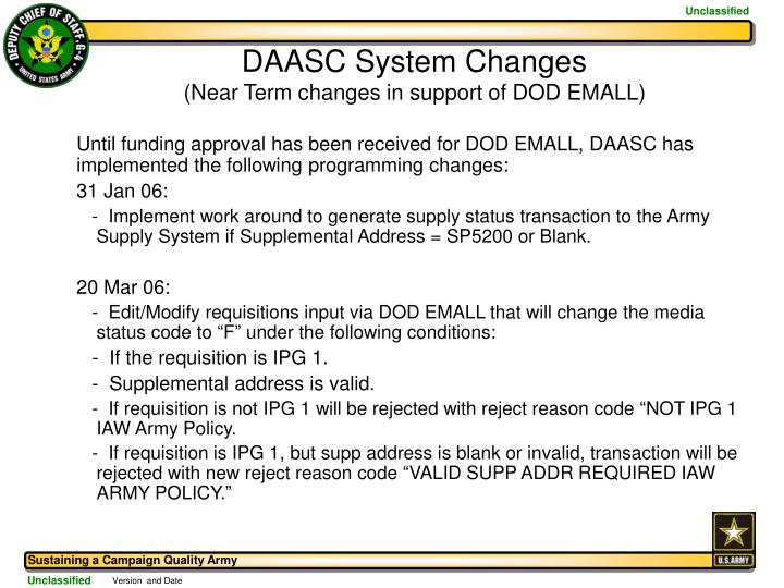 DAASC System Changes