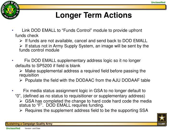 Longer Term Actions