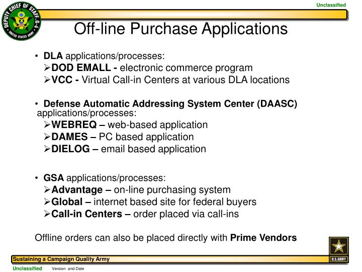 Off-line Purchase Applications