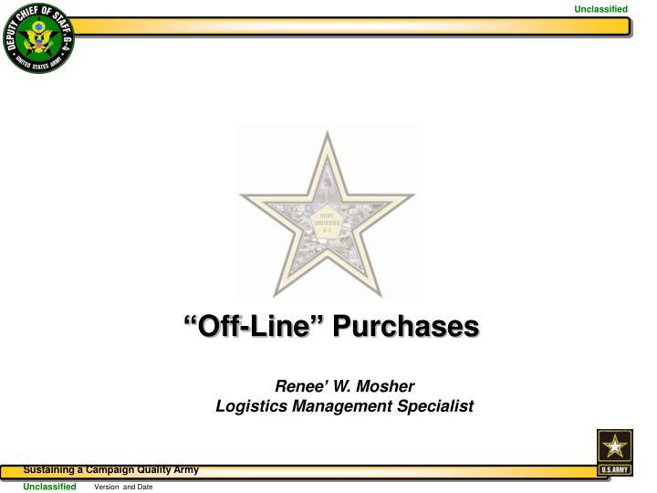 """""""Off-Line"""" Purchases"""
