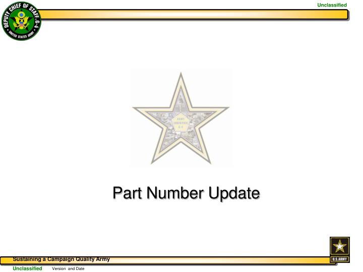 Part Number Update