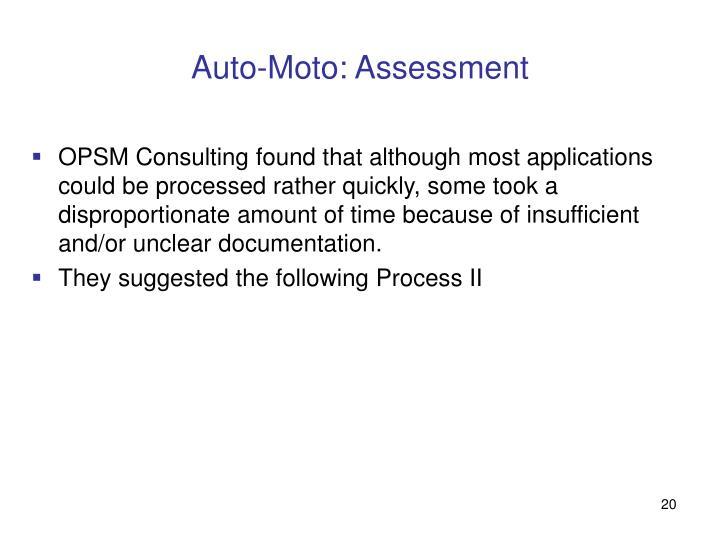 Auto-Moto: Assessment