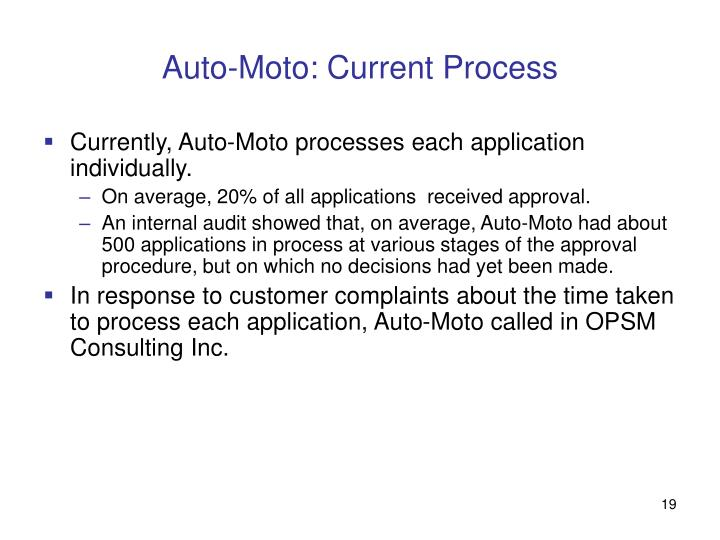 Auto-Moto: Current Process