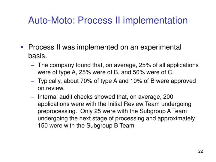 Auto-Moto: Process II implementation