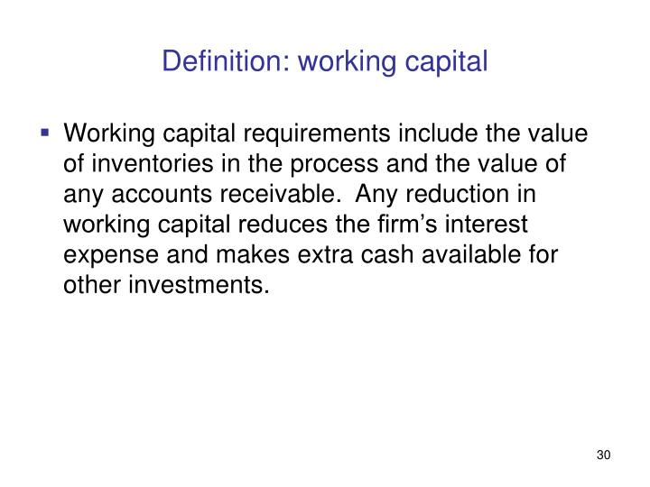 Definition: working capital