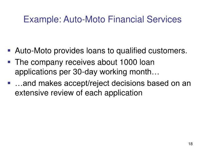 Example: Auto-Moto Financial Services