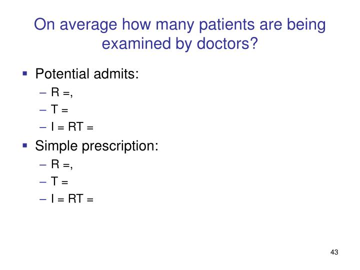 On average how many patients are being examined by doctors?