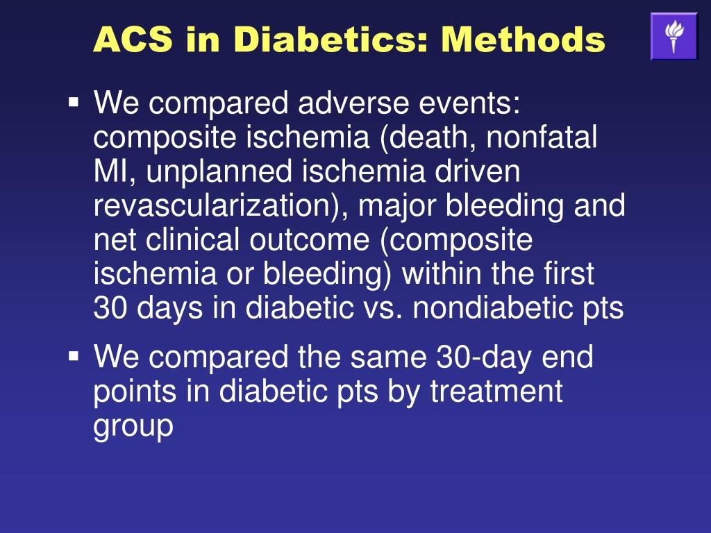 ACS in Diabetics: Methods
