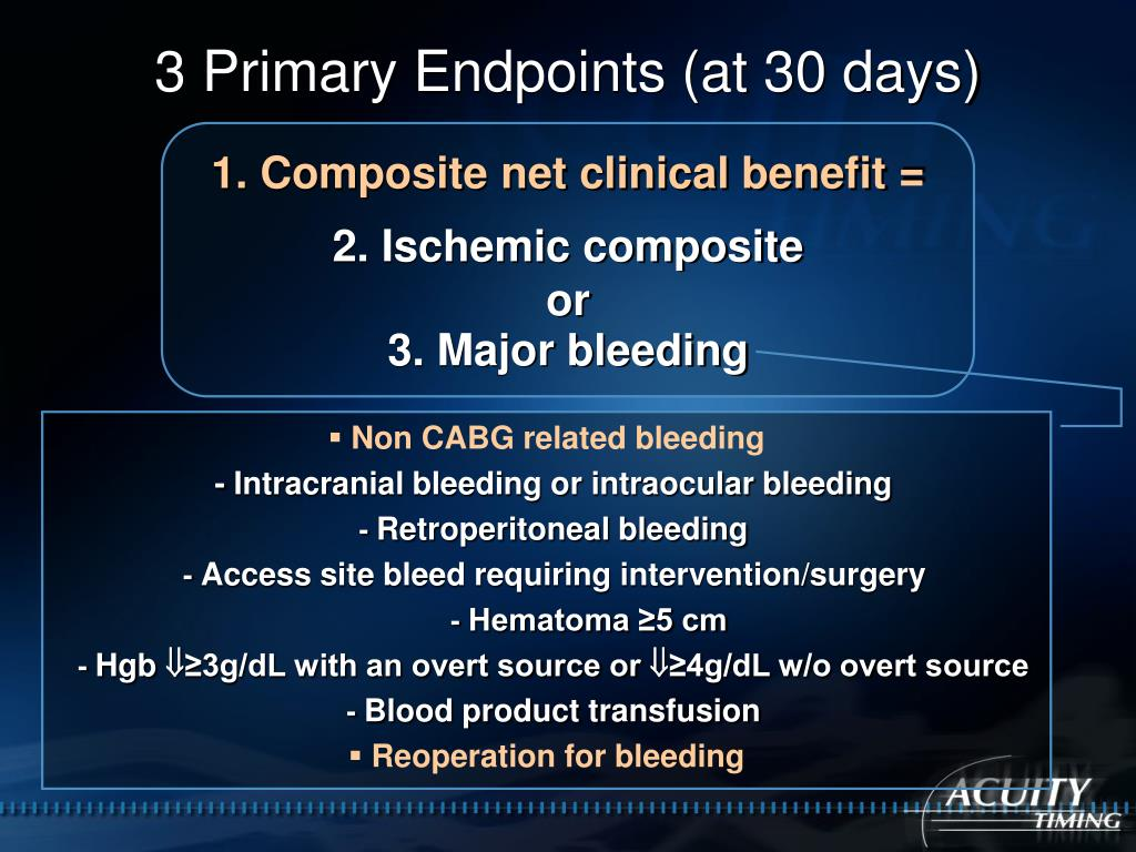 3 Primary Endpoints (at 30 days)