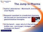 the jump to pharma