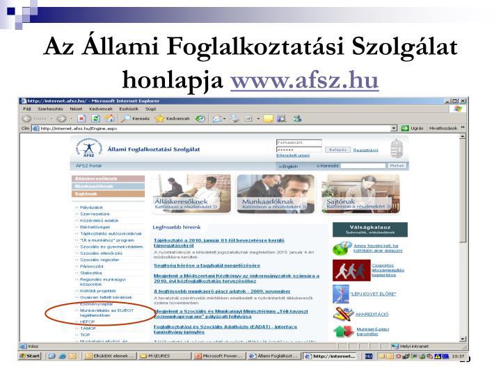 Az Állami Foglalkoztatási Szolgálat honlapja