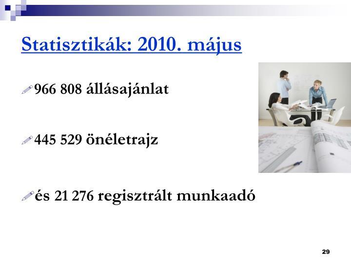 Statisztikák: 2010. május