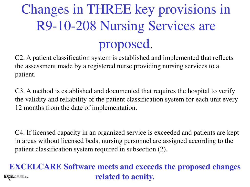 Changes in THREE key provisions in R9-10-208 Nursing Services are proposed