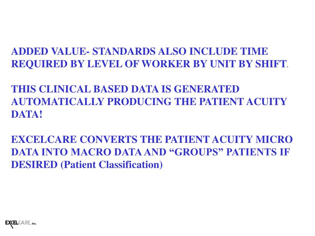 ADDED VALUE- STANDARDS ALSO INCLUDE TIME REQUIRED BY LEVEL OF WORKER BY UNIT BY SHIFT