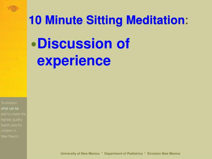 10 Minute Sitting Meditation