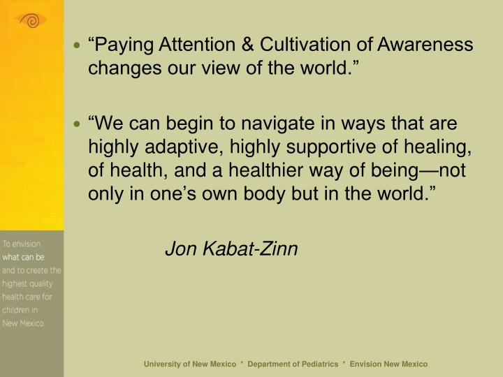 """Paying Attention & Cultivation of Awareness changes our view of the world."""