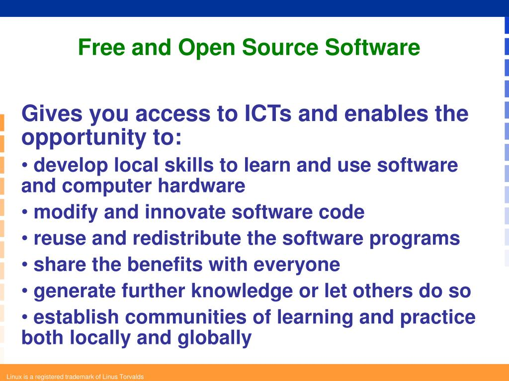 Gives you access to ICTs and enables the opportunity to: