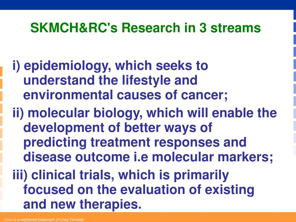 SKMCH&RC's Research in 3 streams