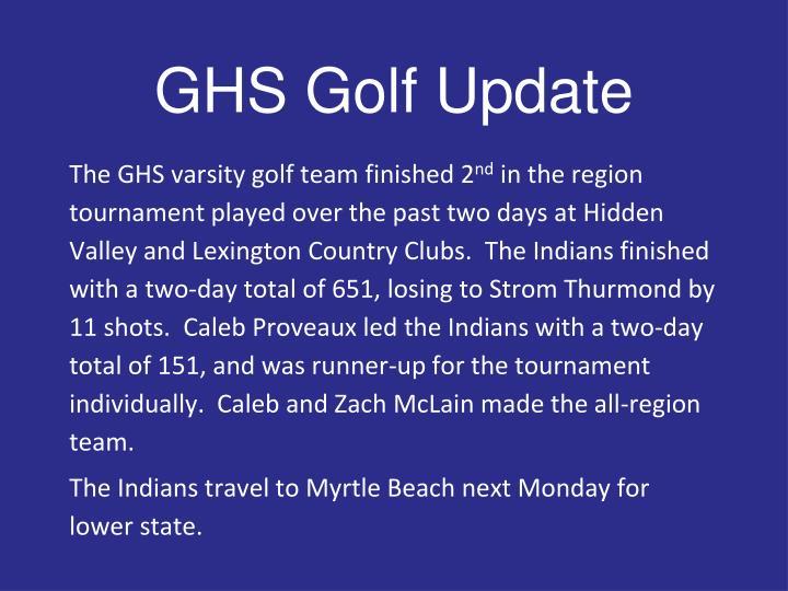 GHS Golf Update